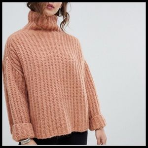 Free People Fluffy Fox High Neck Chunky Sweater